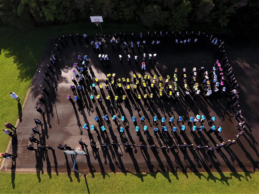 Students create a giant human periodic table